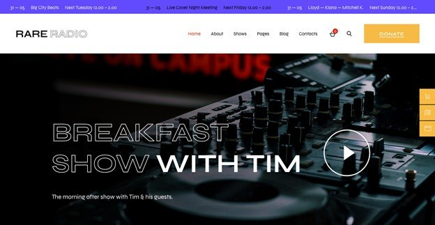 Rare Radio is a feature-rich WP theme.