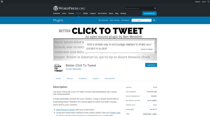 WordPress Twitter Plugins - With the Better Click plugin you can add 'click to tweet' boxes on your posts.