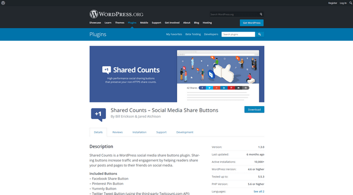 Shared Counts is a great WordPress social sharing plugin.