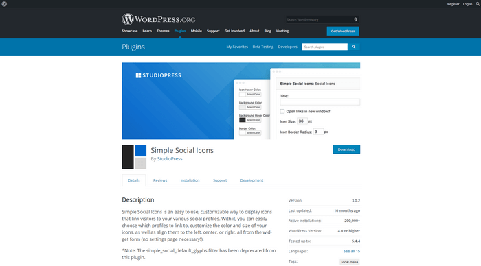 WordPress Twitter Plugins - With Simple Social Icons you can add include social media icons to a sidebar widget.