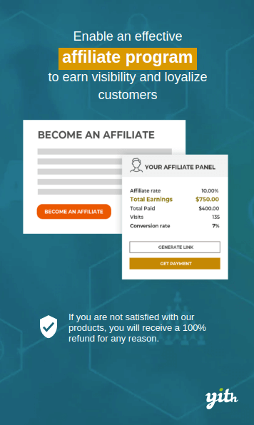 With the YITH WooCommerce Affiliate plugin you can run an effective affiliate program in your store.