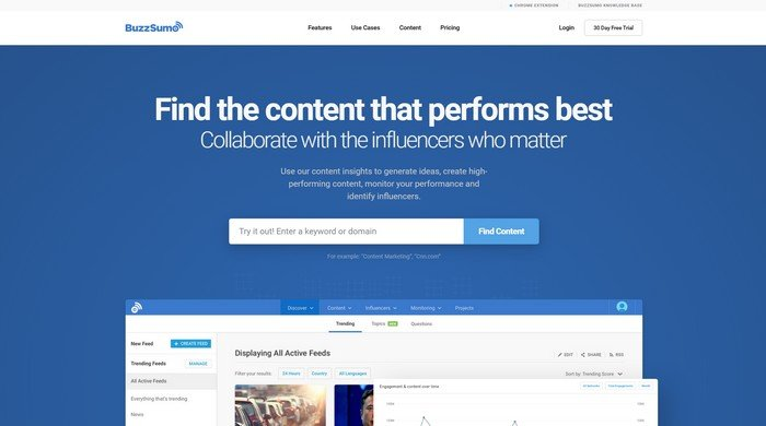 BuzzSumo includes everything you'll need to monitor your web content.