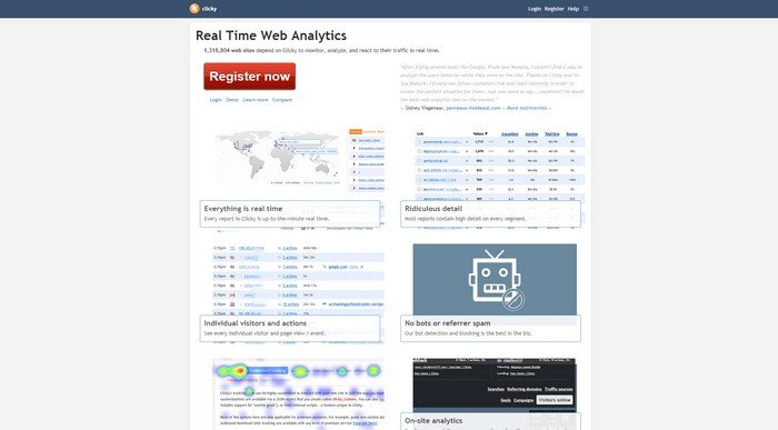 Clicky is a marketing analytics platform with standout features.